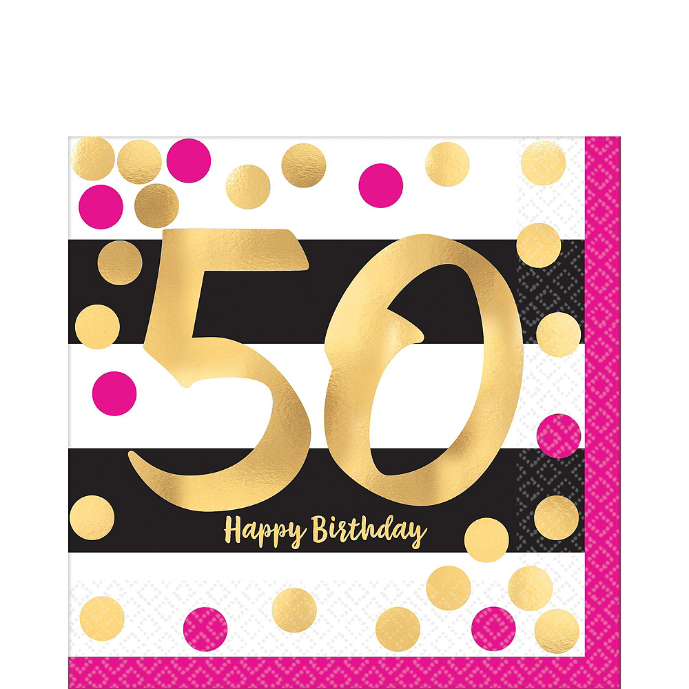 Metallic Pink & Gold 50th Birthday Tableware Kit for 8 Guests Image #3