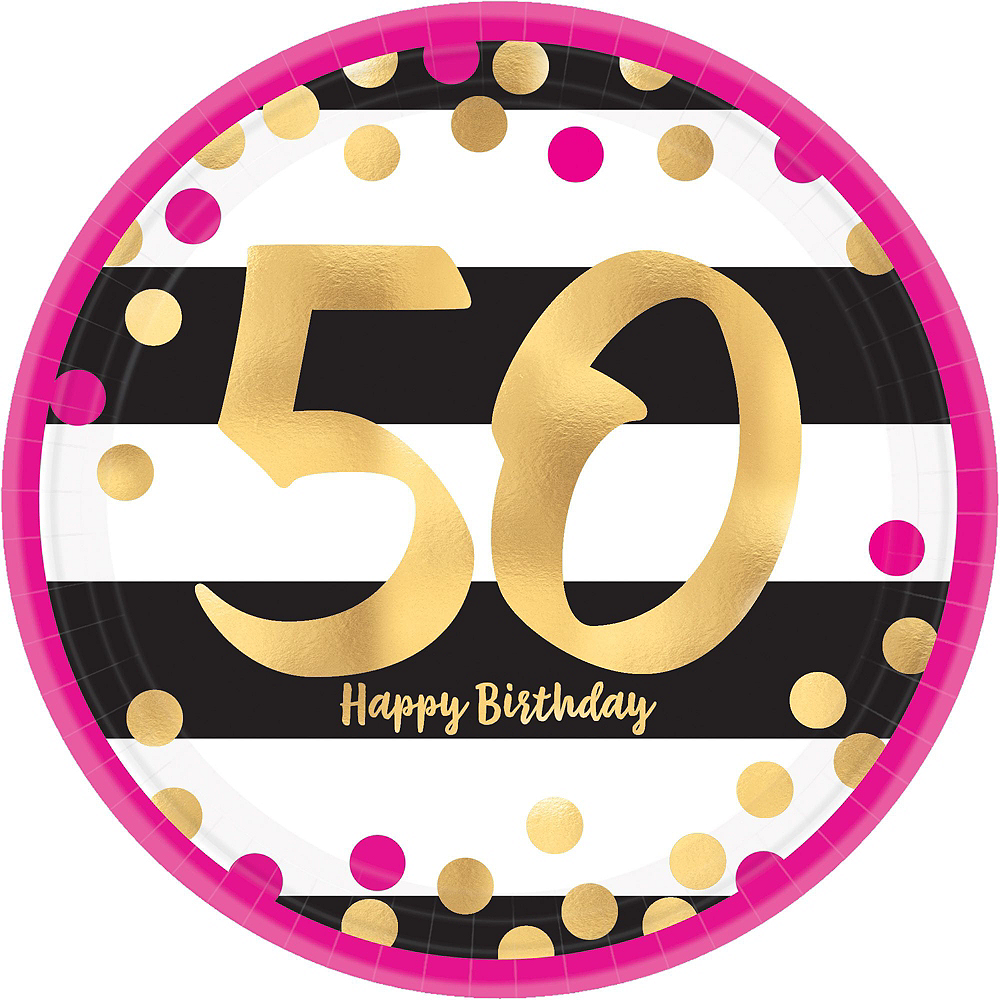 Metallic Pink & Gold 50th Birthday Tableware Kit for 8 Guests Image #4