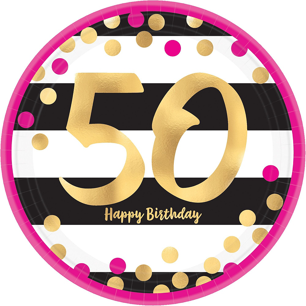 Metallic Pink & Gold 50th Birthday Tableware Kit for 8 Guests Image #5