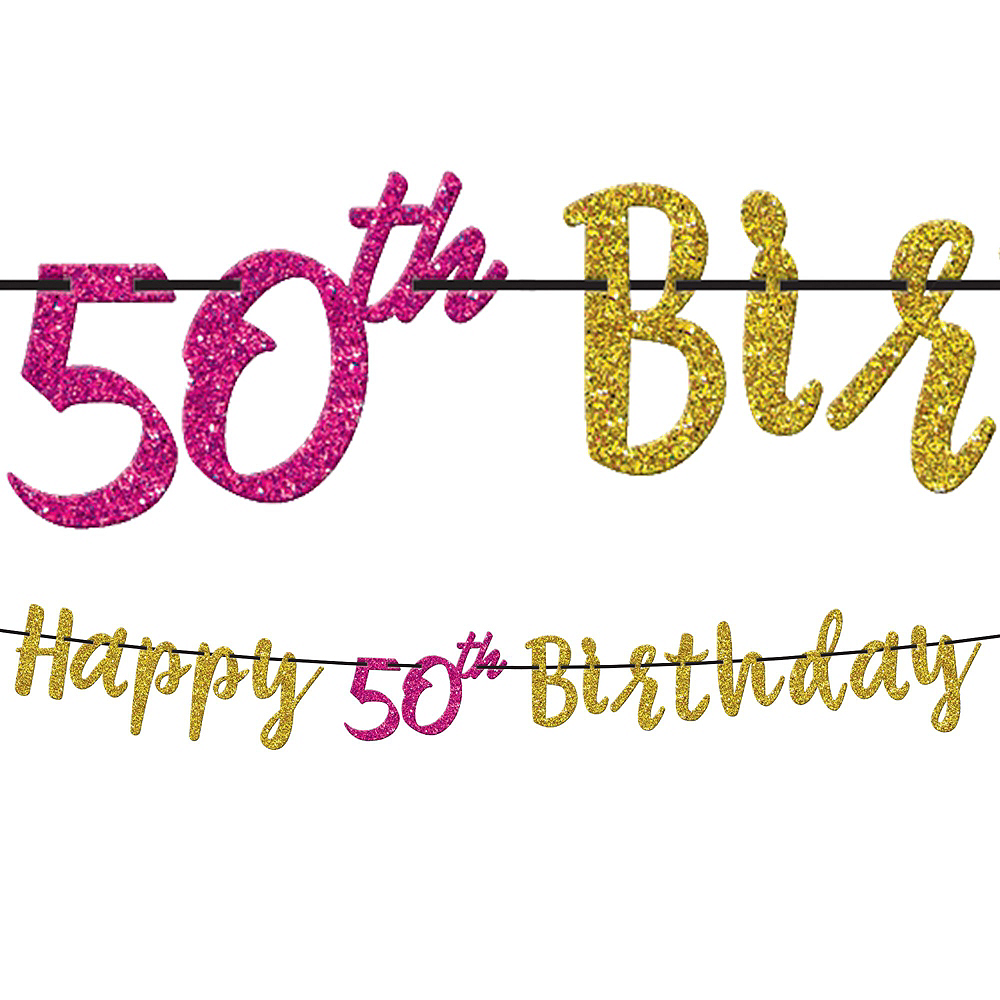 Metallic Pink & Gold 50th Birthday Tableware Kit for 8 Guests Image #7