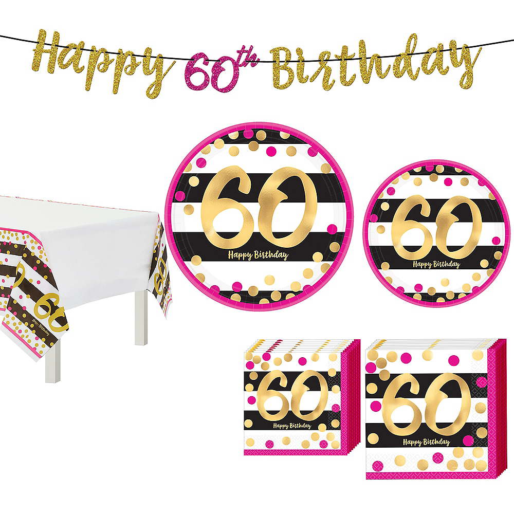 Metallic Pink & Gold 60th Birthday Tableware Kit for 8 Guests Image #1