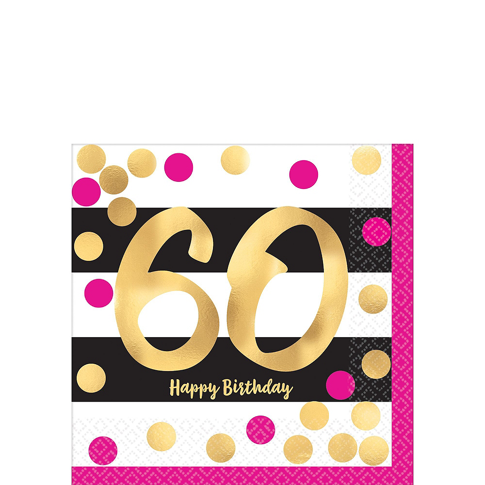 Metallic Pink & Gold 60th Birthday Tableware Kit for 8 Guests Image #2