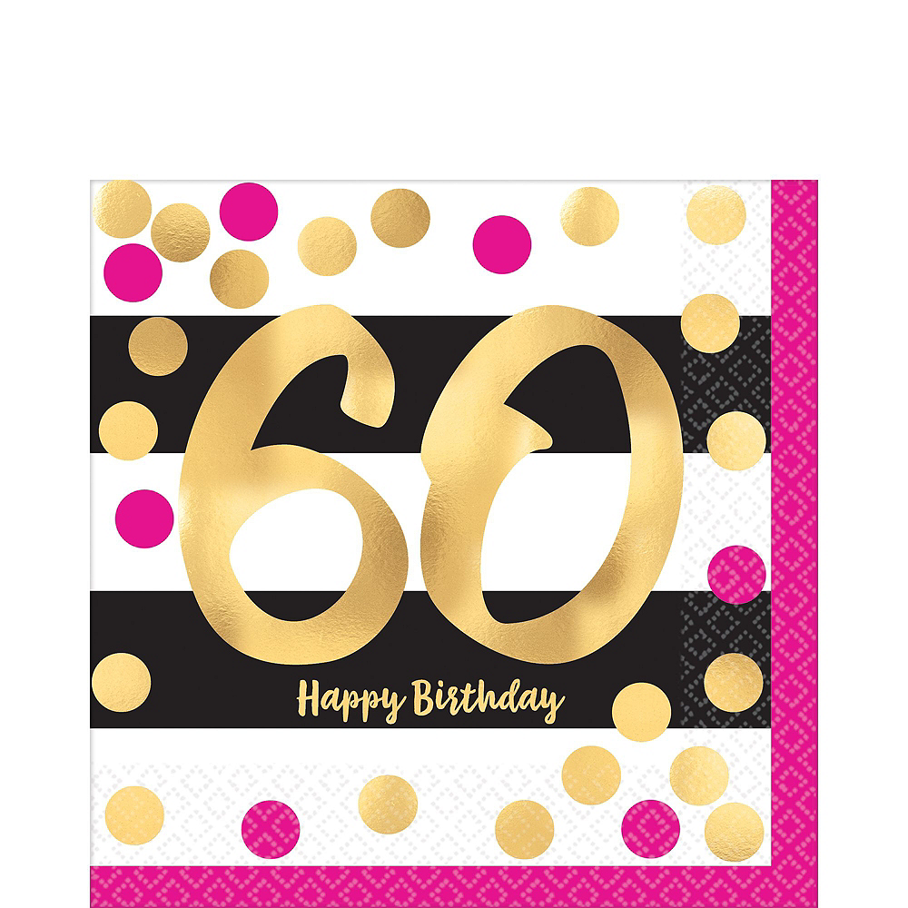 Metallic Pink & Gold 60th Birthday Tableware Kit for 8 Guests Image #3