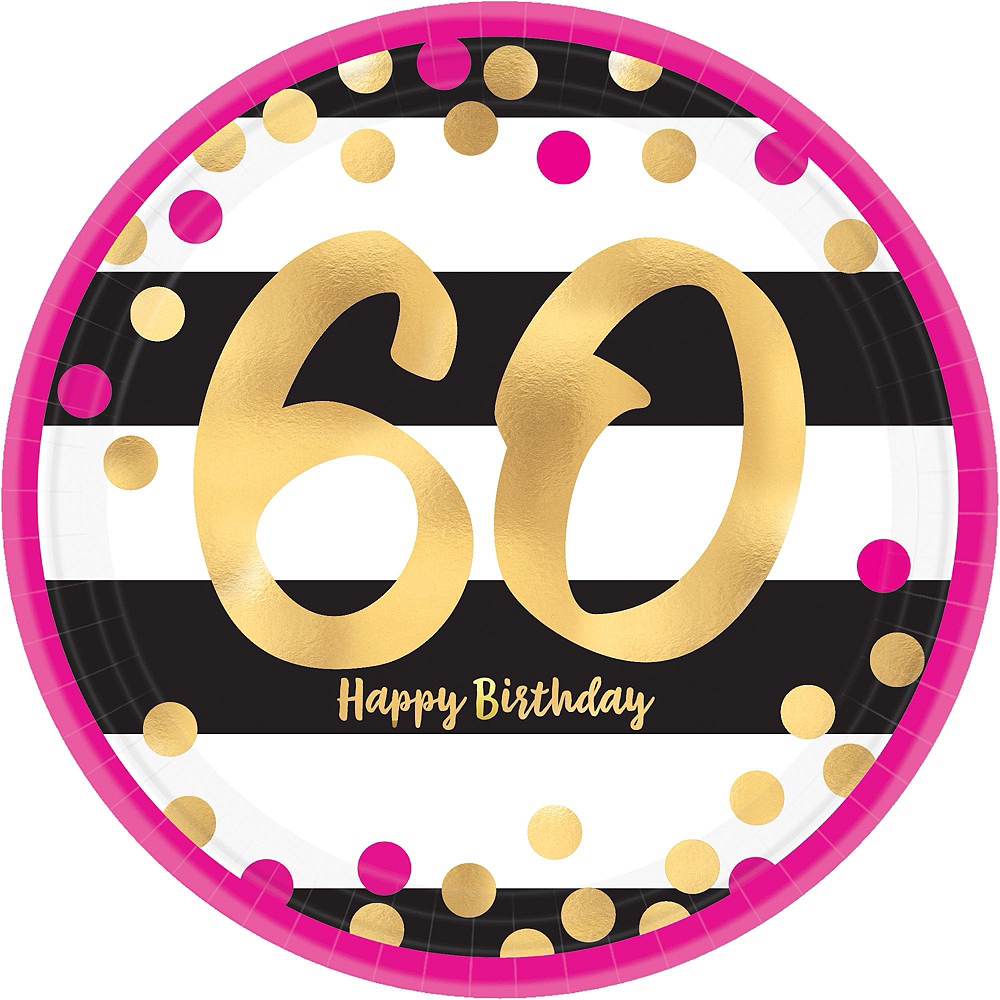 Metallic Pink & Gold 60th Birthday Tableware Kit for 8 Guests Image #5