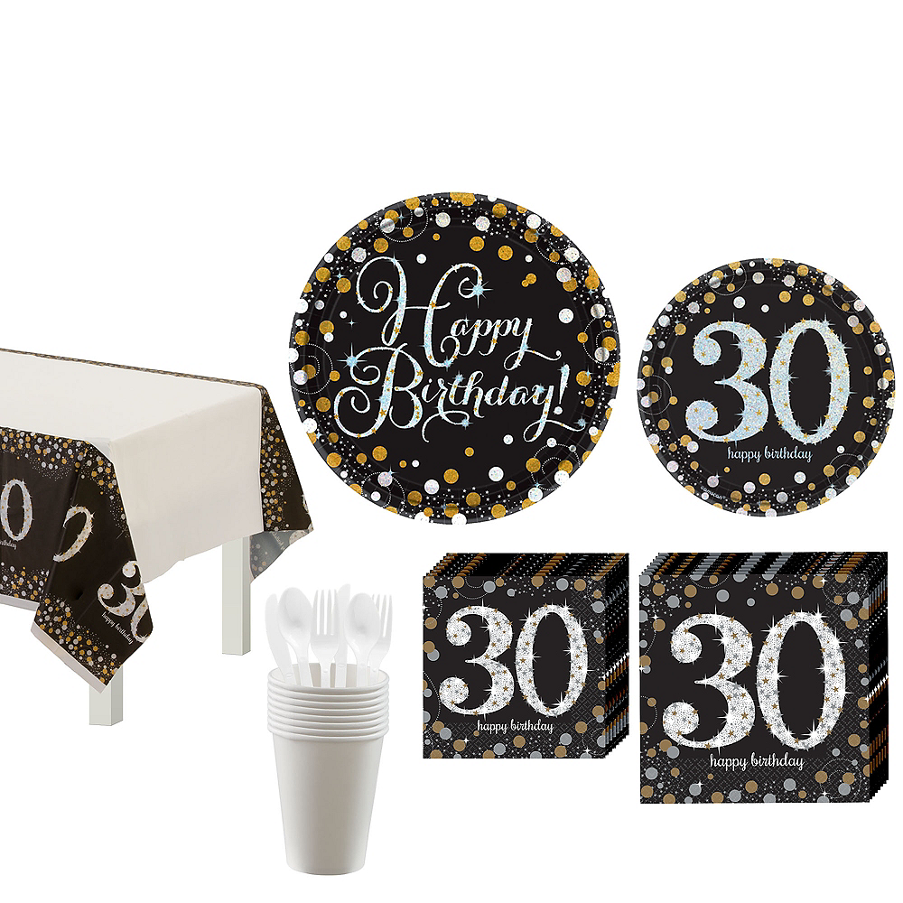 Sparkling Celebration 30th Birthday Tableware Kit for 8 Guests Image #1
