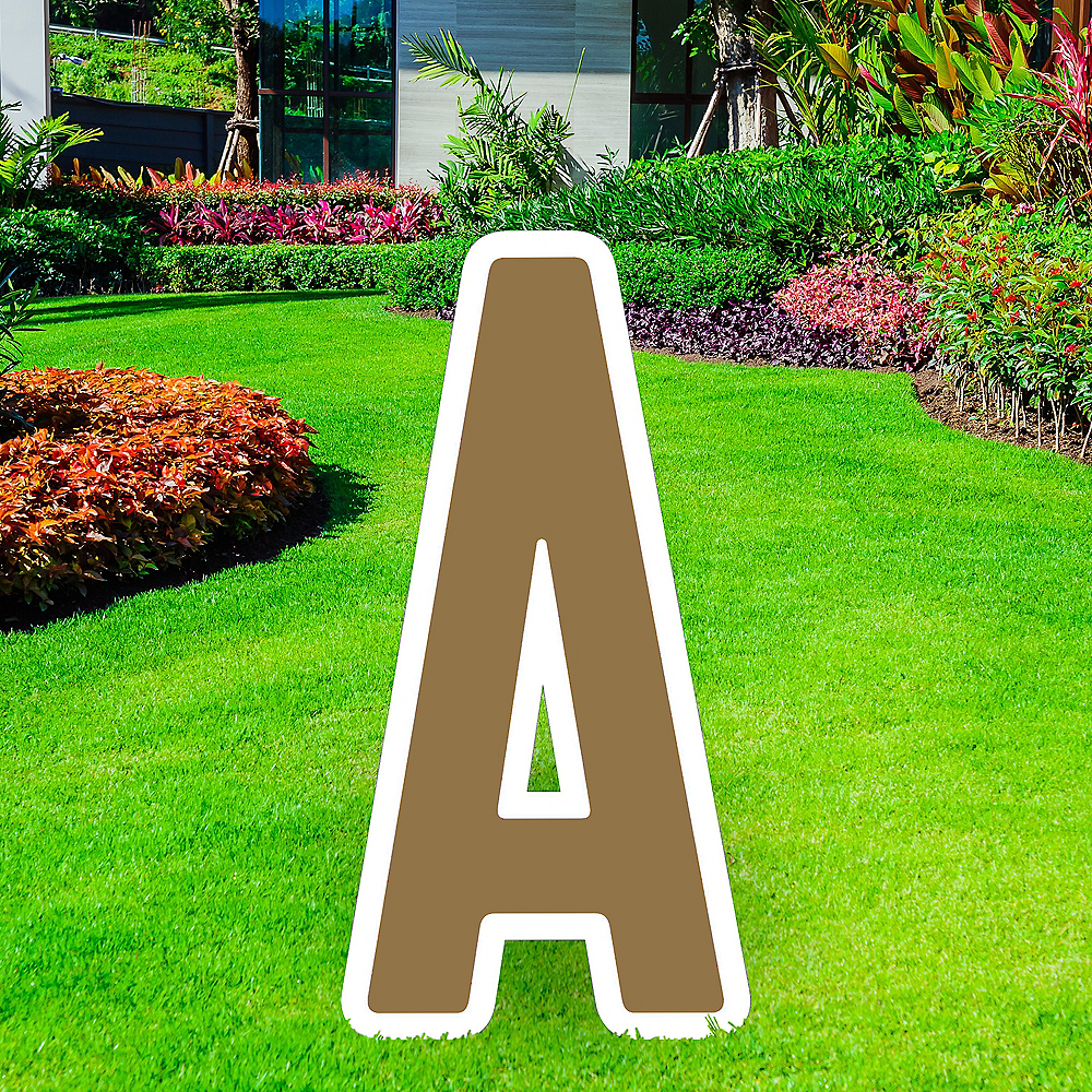 Giant Gold Corrugated Plastic Letter (A) Yard Sign, 30in Image #1
