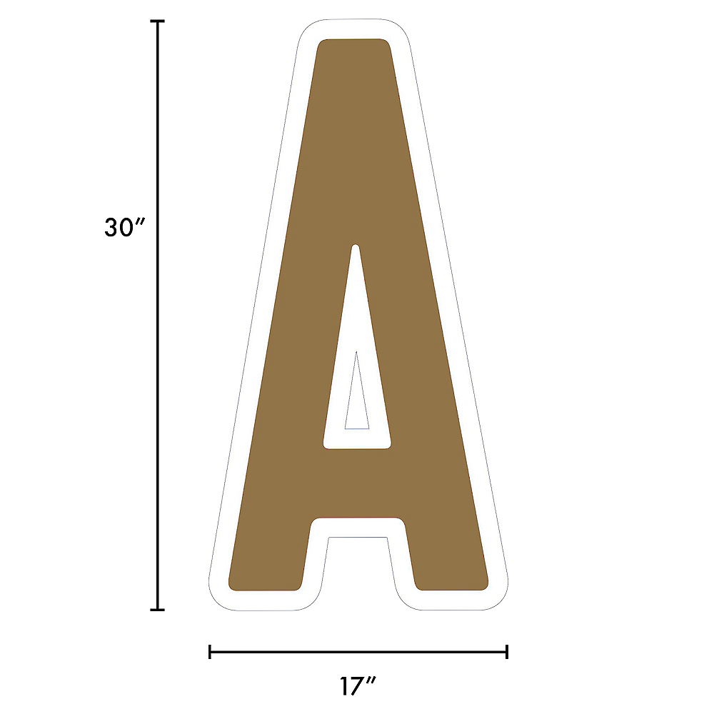 Giant Gold Corrugated Plastic Letter (A) Yard Sign, 30in Image #2