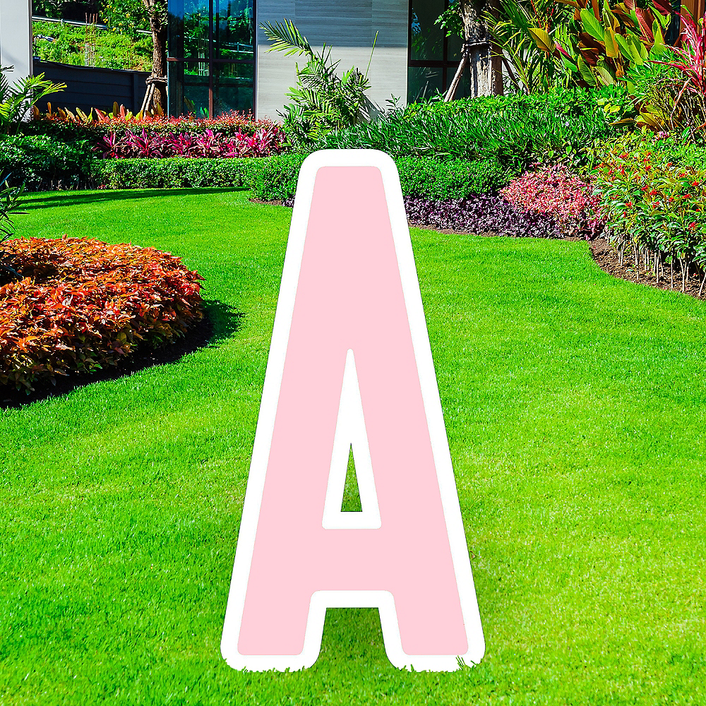 Giant Blush Pink Corrugated Plastic Letter (A) Yard Sign, 30in Image #1