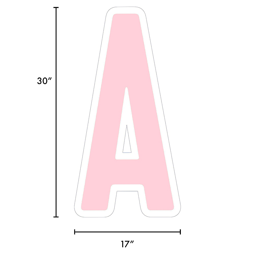 Giant Blush Pink Corrugated Plastic Letter (A) Yard Sign, 30in Image #2