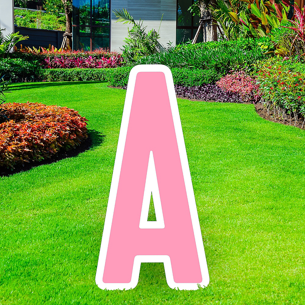 Giant Pink Corrugated Plastic Letter (A) Yard Sign, 30in Image #1