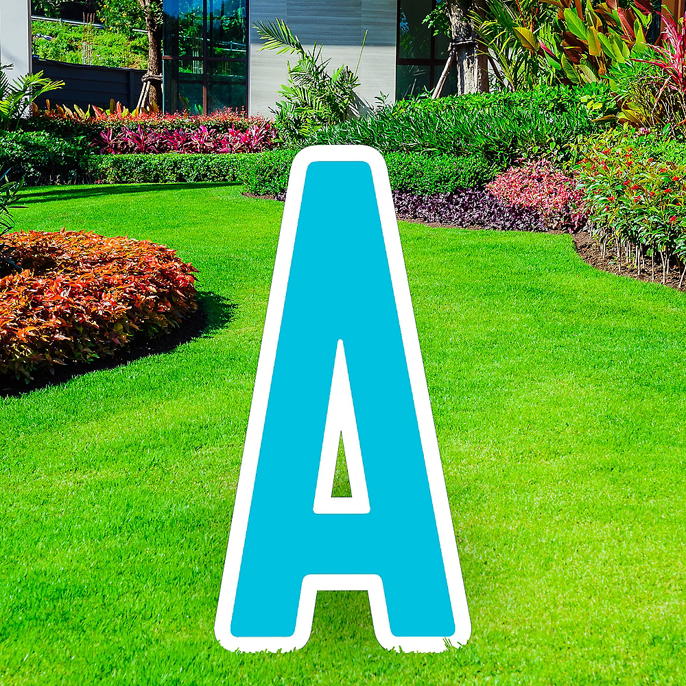 Nav Item for Giant Caribbean Blue Corrugated Plastic Letter (A) Yard Sign, 30in Image #1
