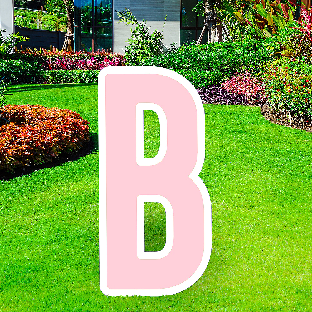 Giant Blush Pink Corrugated Plastic Letter (B) Yard Sign, 30in Image #1