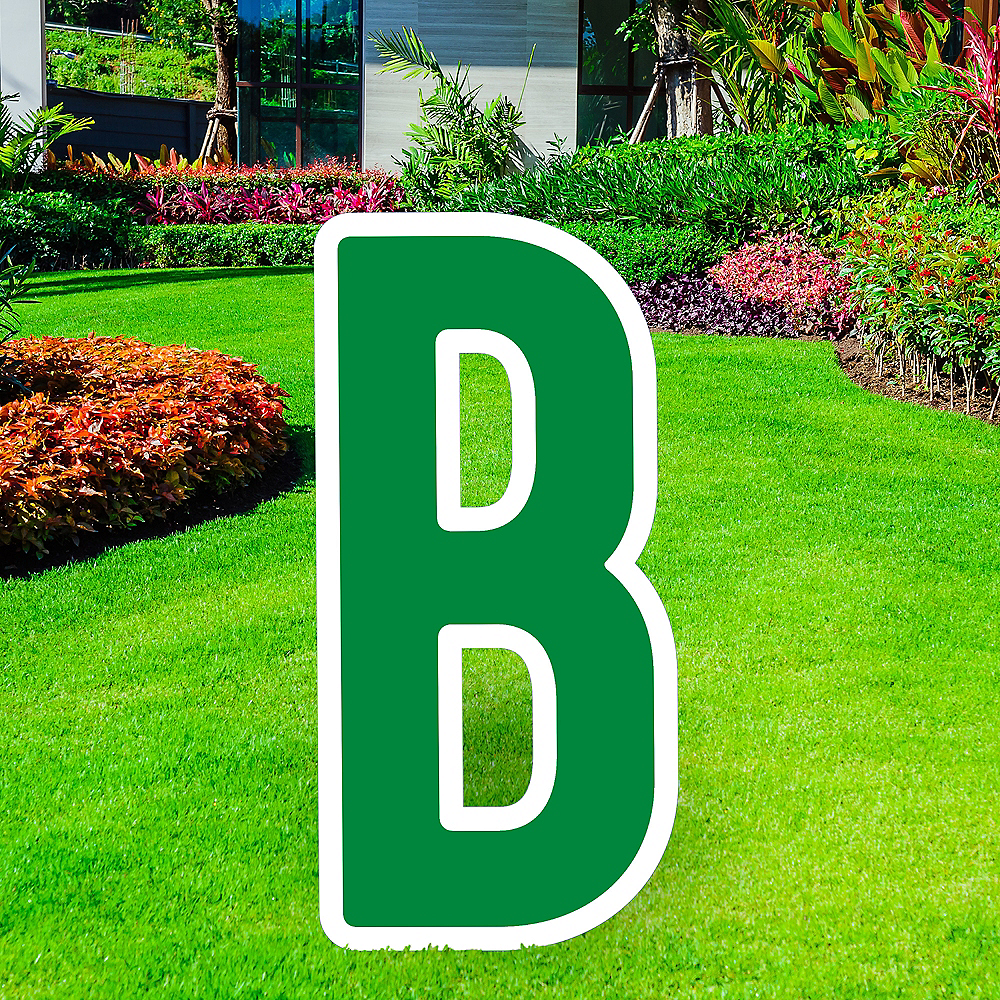 Giant Festive Green Corrugated Plastic Letter (B) Yard Sign, 30in Image #1