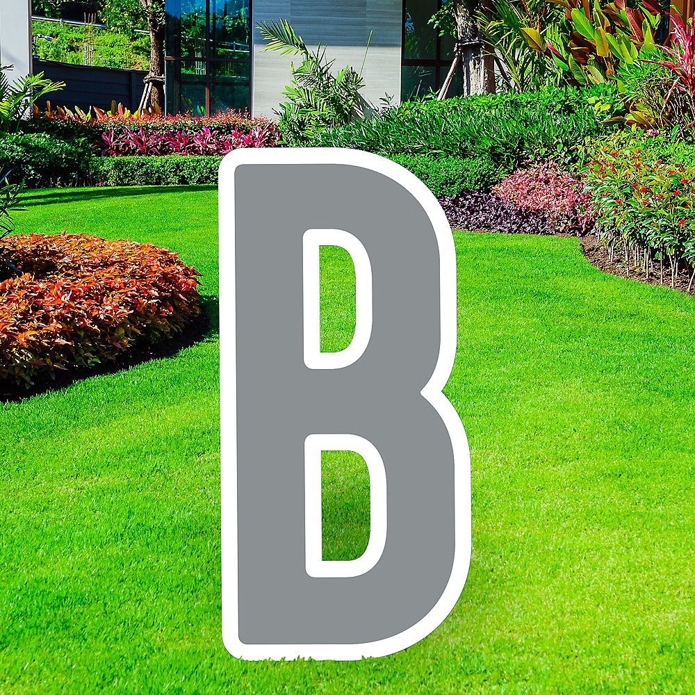 Giant Silver Corrugated Plastic Letter (B) Yard Sign, 30in Image #1
