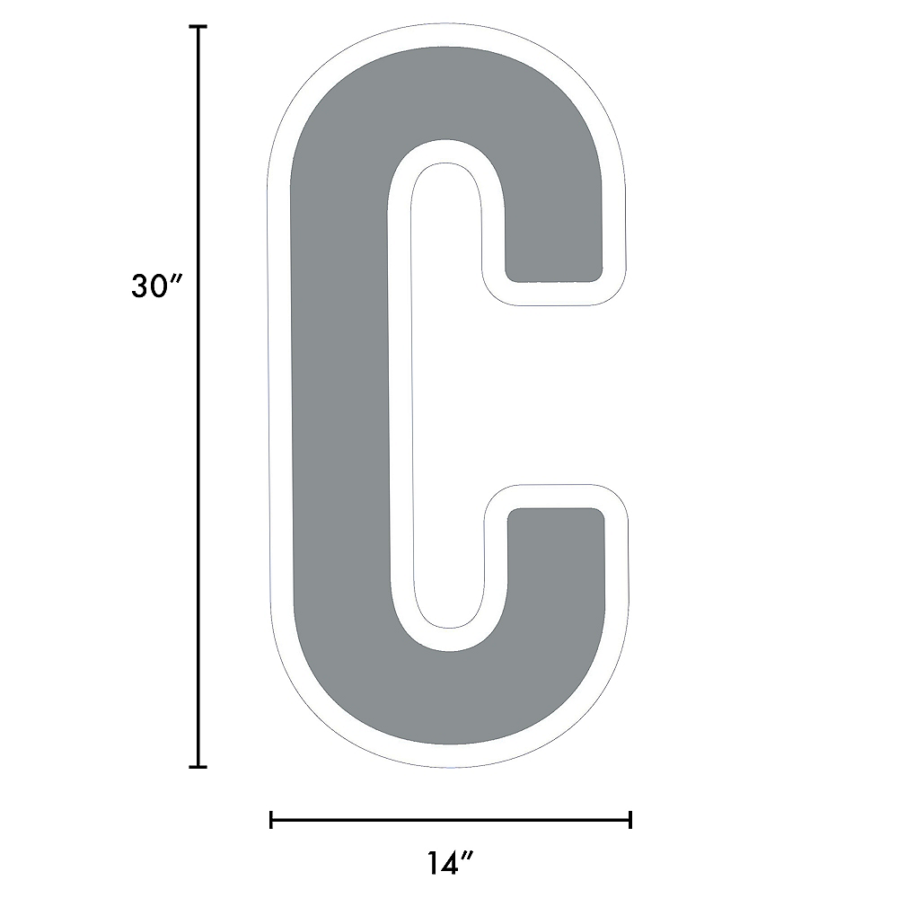 Giant Silver Corrugated Plastic Letter (C) Yard Sign, 30in Image #2