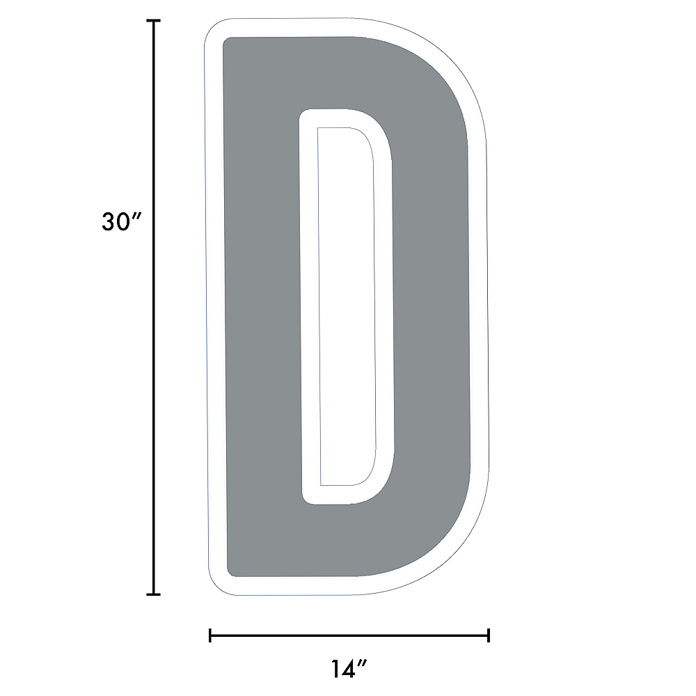 Giant Silver Corrugated Plastic Letter (D) Yard Sign, 30in Image #2