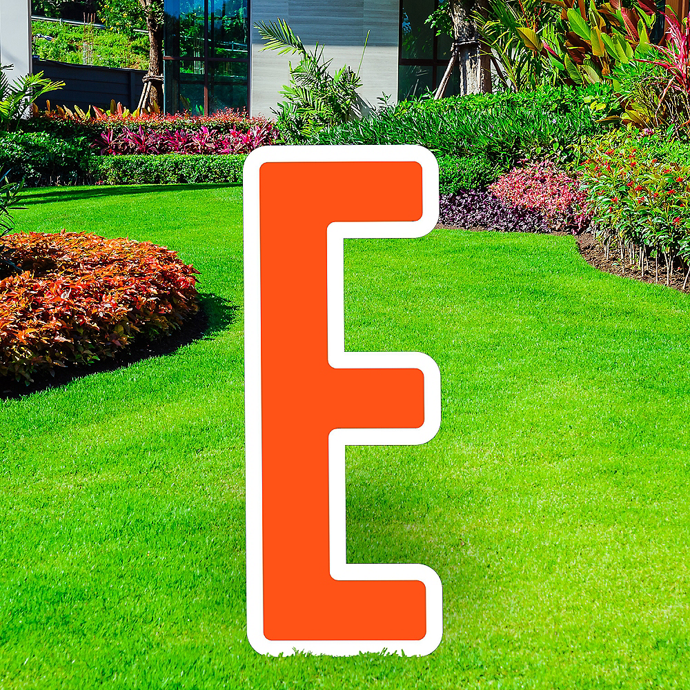 Giant Orange Corrugated Plastic Letter (E) Yard Sign, 30in Image #1