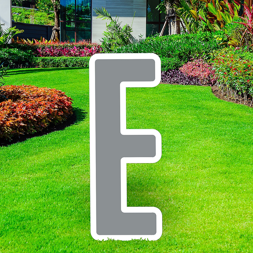 Giant Silver Corrugated Plastic Letter (E) Yard Sign, 30in Image #1
