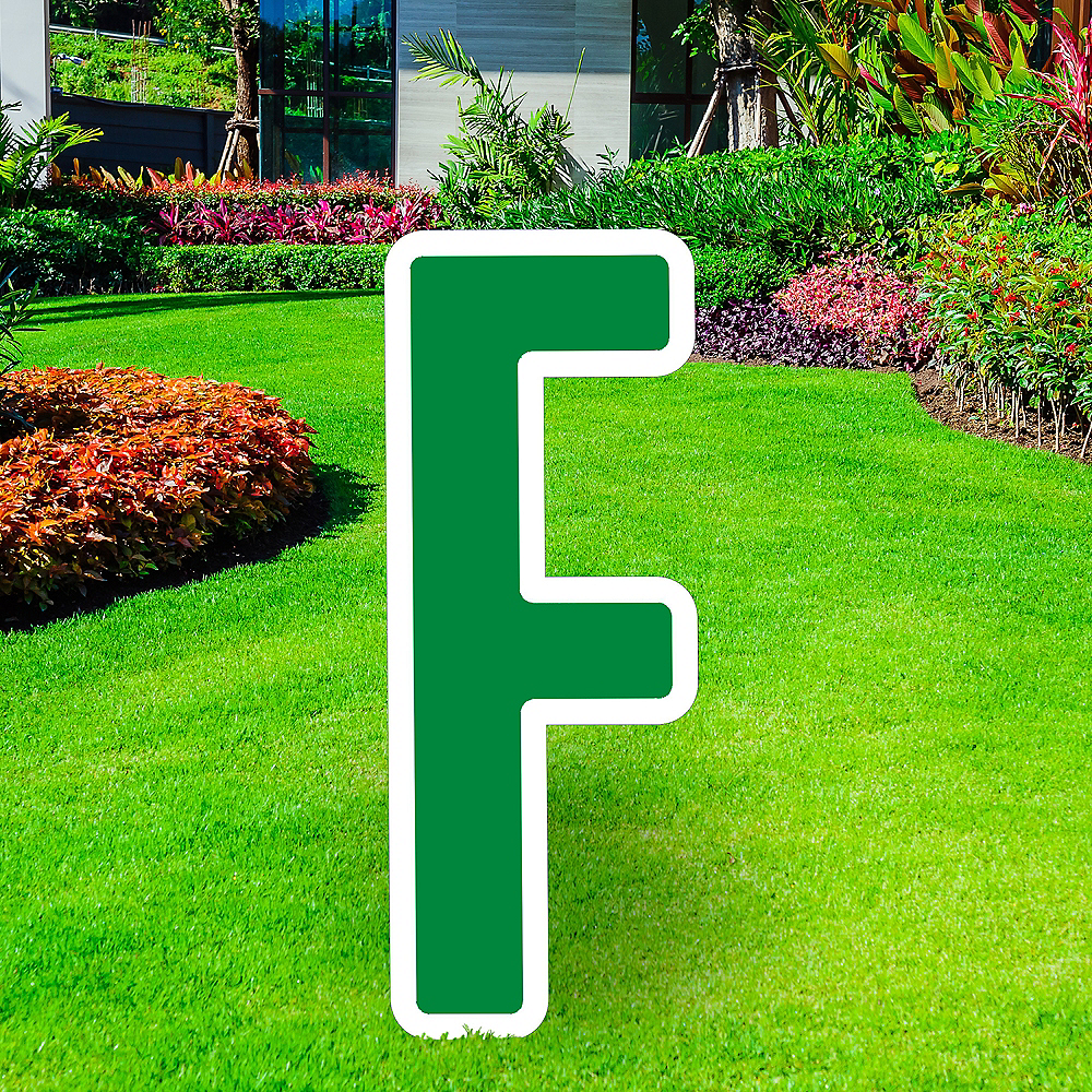Giant Festive Green Corrugated Plastic Letter (F) Yard Sign, 30in Image #1