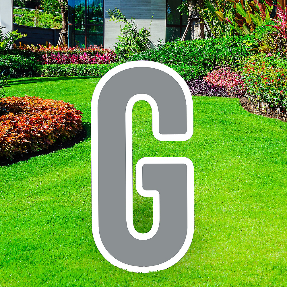 Giant Silver Corrugated Plastic Letter (G) Yard Sign, 30in Image #1