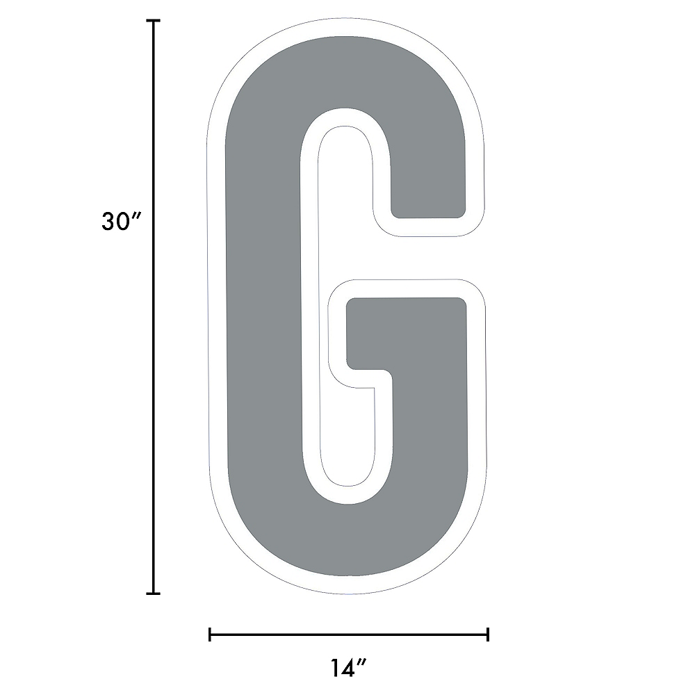 Giant Silver Corrugated Plastic Letter (G) Yard Sign, 30in Image #2