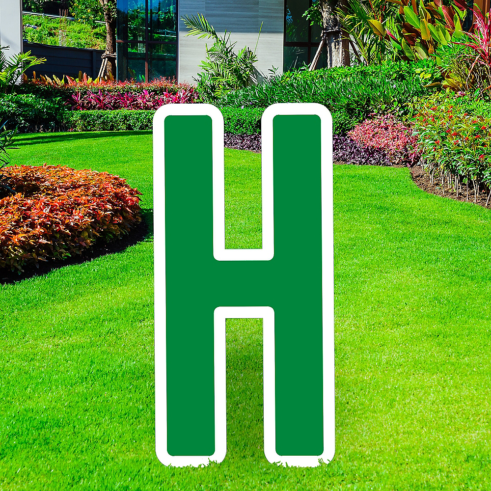 Giant Festive Green Corrugated Plastic Letter (H) Yard Sign, 30in Image #1
