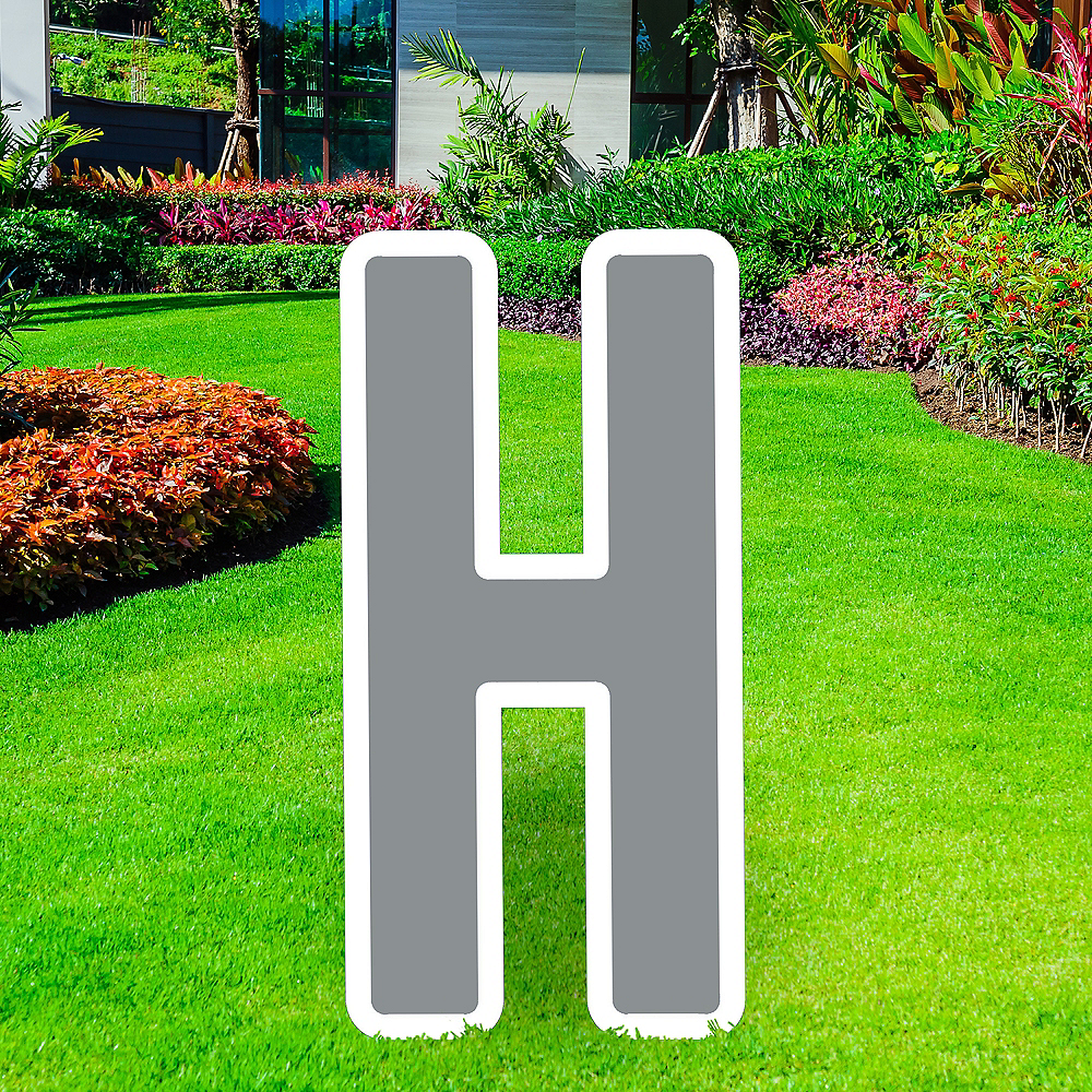 Giant Silver Corrugated Plastic Letter (H) Yard Sign, 30in Image #1