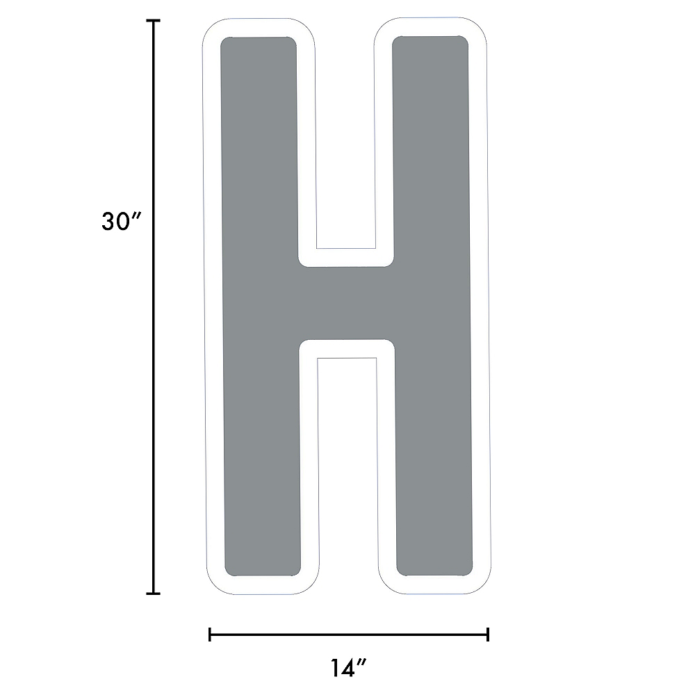 Giant Silver Corrugated Plastic Letter (H) Yard Sign, 30in Image #2
