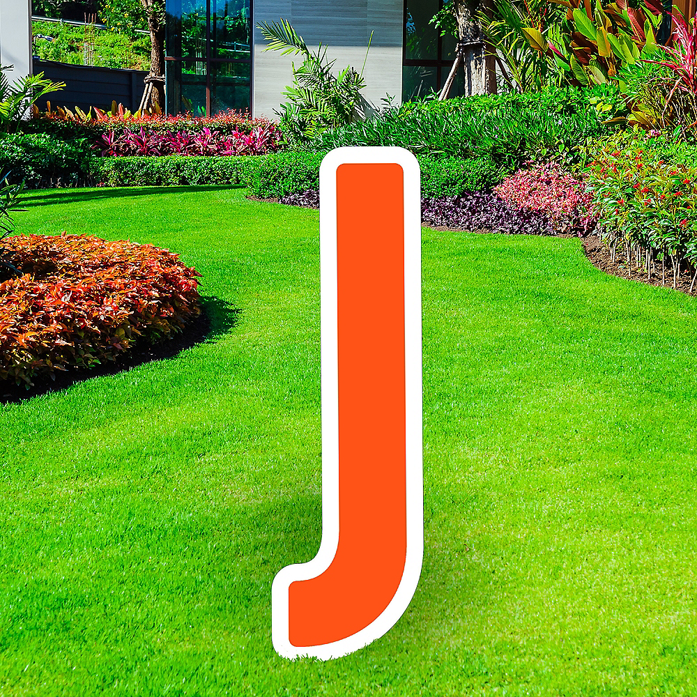 Giant Orange Corrugated Plastic Letter (J) Yard Sign, 30in Image #1