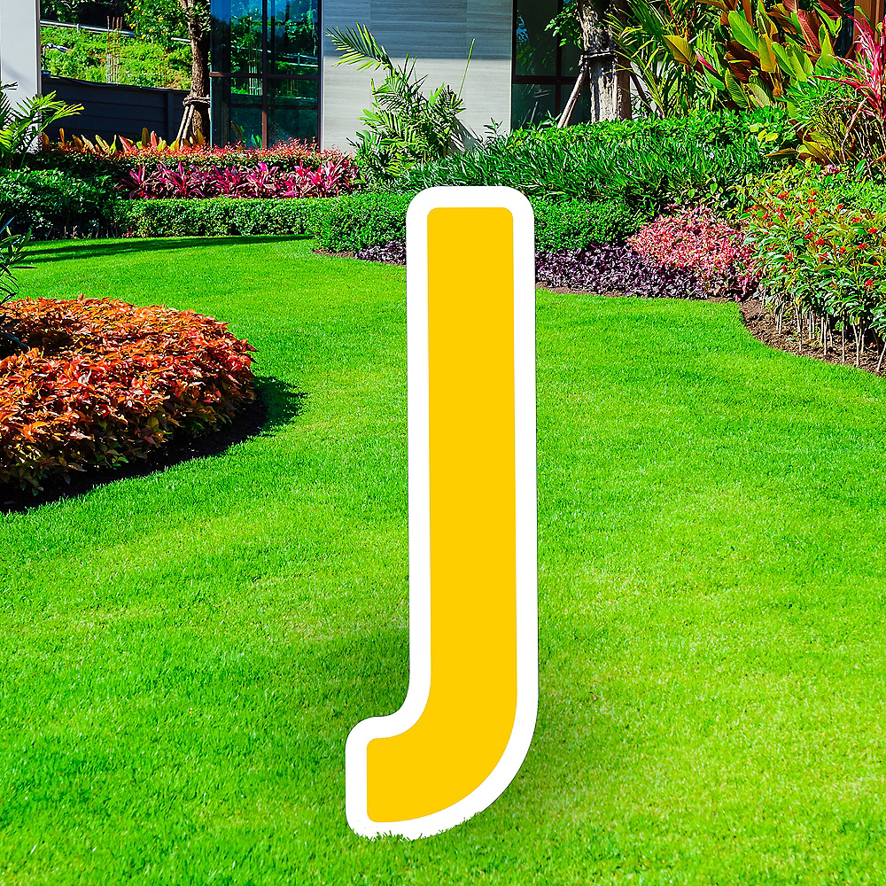 Giant Yellow Corrugated Plastic Letter (J) Yard Sign, 30in Image #1