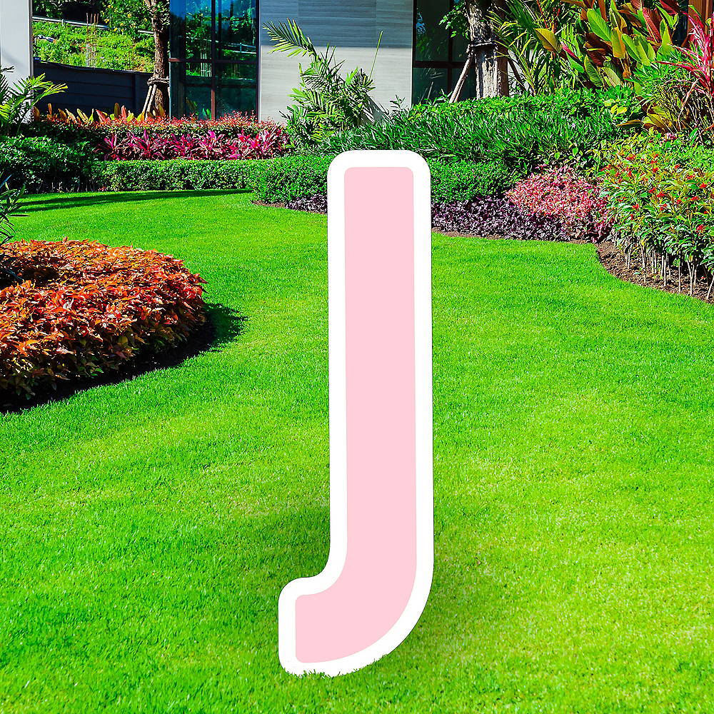 Giant Blush Pink Corrugated Plastic Letter (J) Yard Sign, 30in Image #1