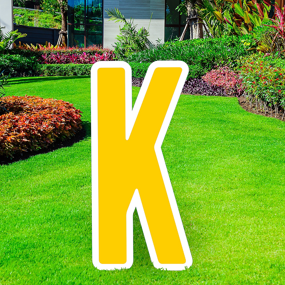 Giant Yellow Corrugated Plastic Letter (K) Yard Sign, 30in Image #1