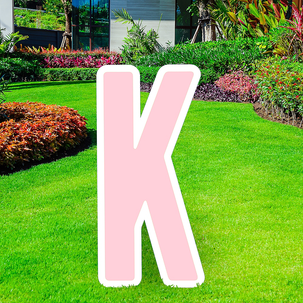 Giant Blush Pink Corrugated Plastic Letter (K) Yard Sign, 30in Image #1