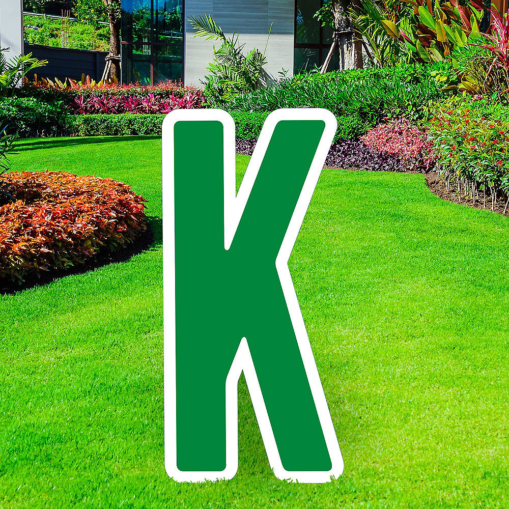 Giant Festive Green Corrugated Plastic Letter (K) Yard Sign, 30in Image #1