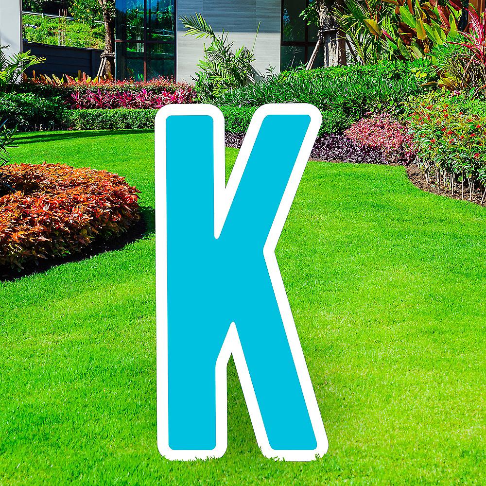 Giant Caribbean Blue Corrugated Plastic Letter (K) Yard Sign, 30in Image #1