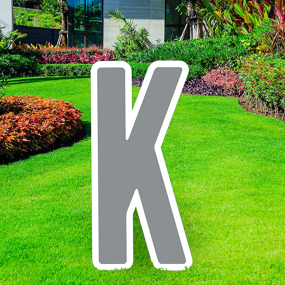 Giant Silver Corrugated Plastic Letter (K) Yard Sign, 30in Image #1