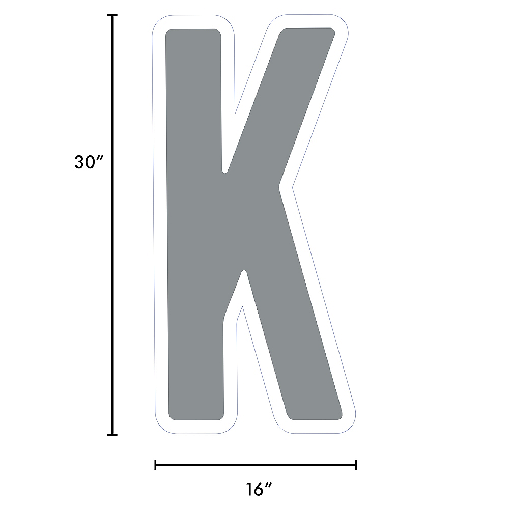 Giant Silver Corrugated Plastic Letter (K) Yard Sign, 30in Image #2