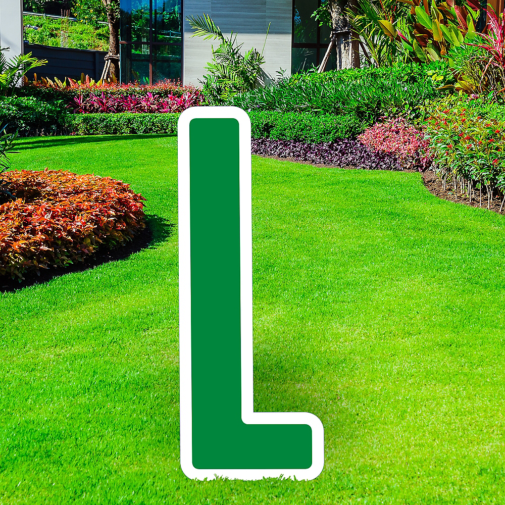 Giant Festive Green Corrugated Plastic Letter (L) Yard Sign, 30in Image #1