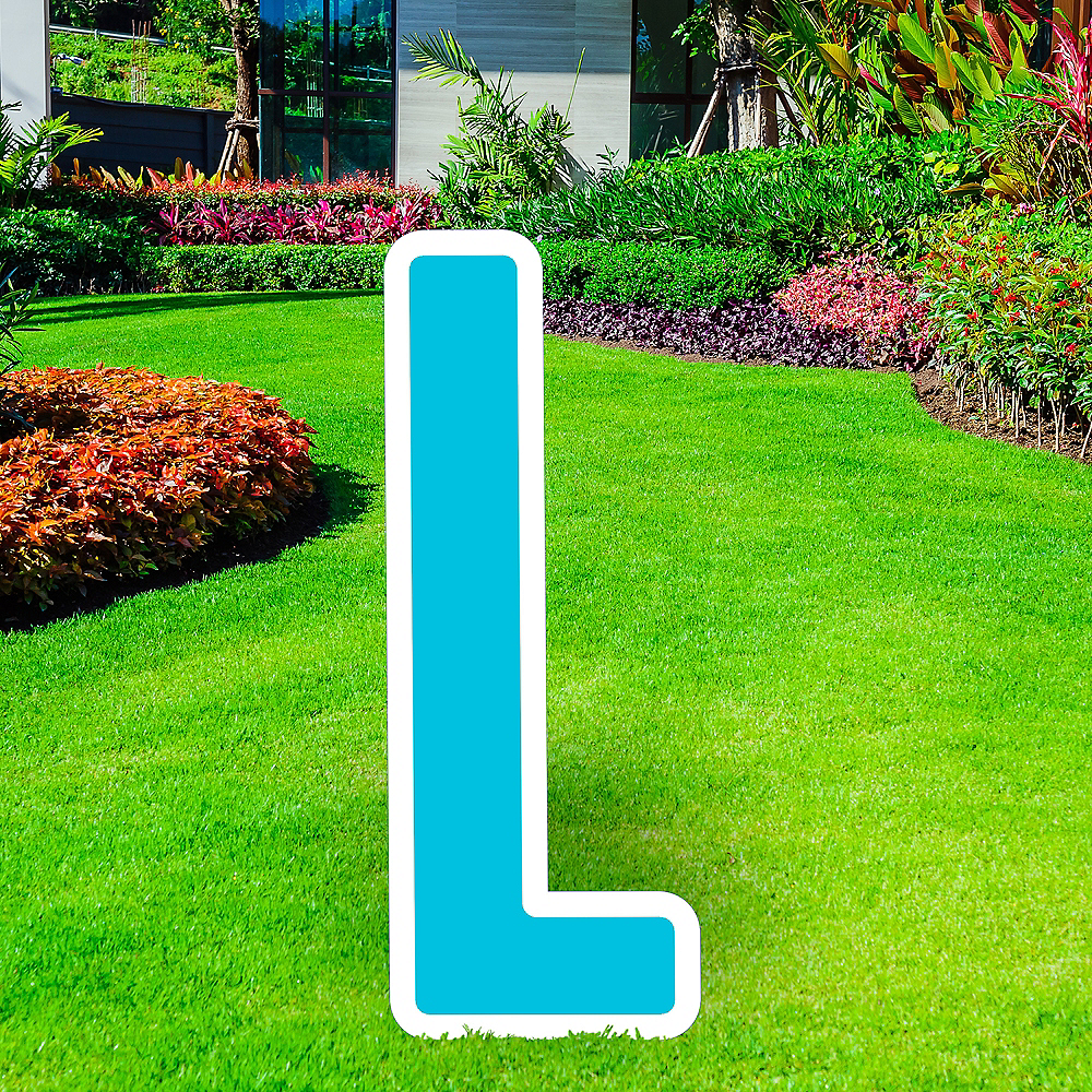Giant Caribbean Blue Corrugated Plastic Letter (L) Yard Sign, 30in Image #1