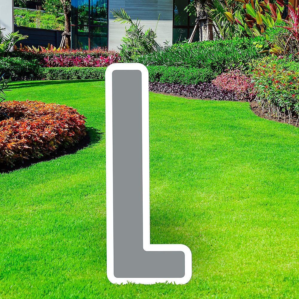 Giant Silver Corrugated Plastic Letter (L) Yard Sign, 30in Image #1