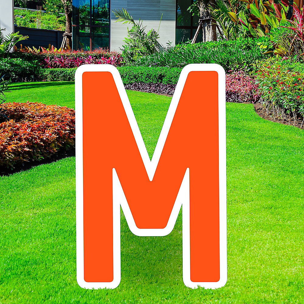 Giant Orange Corrugated Plastic Letter (M) Yard Sign, 30in Image #1
