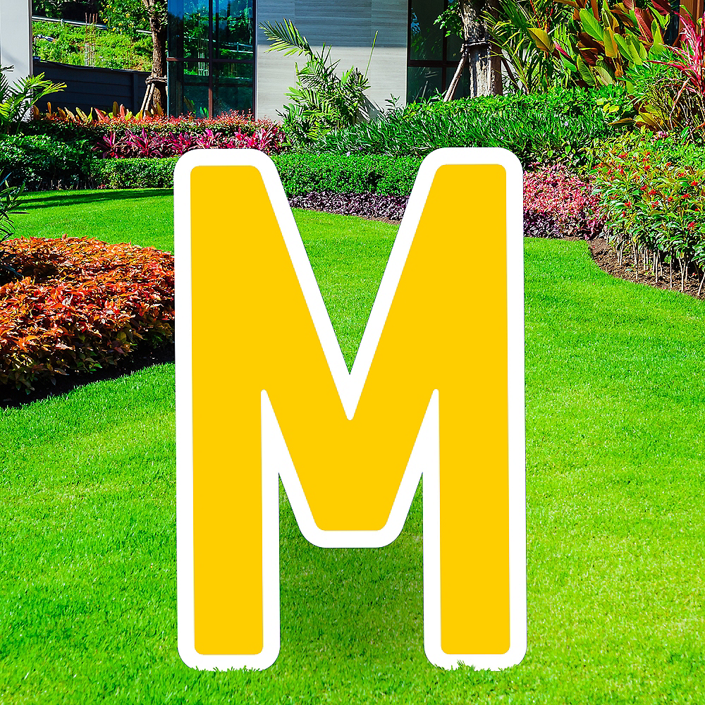 Giant Yellow Corrugated Plastic Letter (M) Yard Sign, 30in Image #1