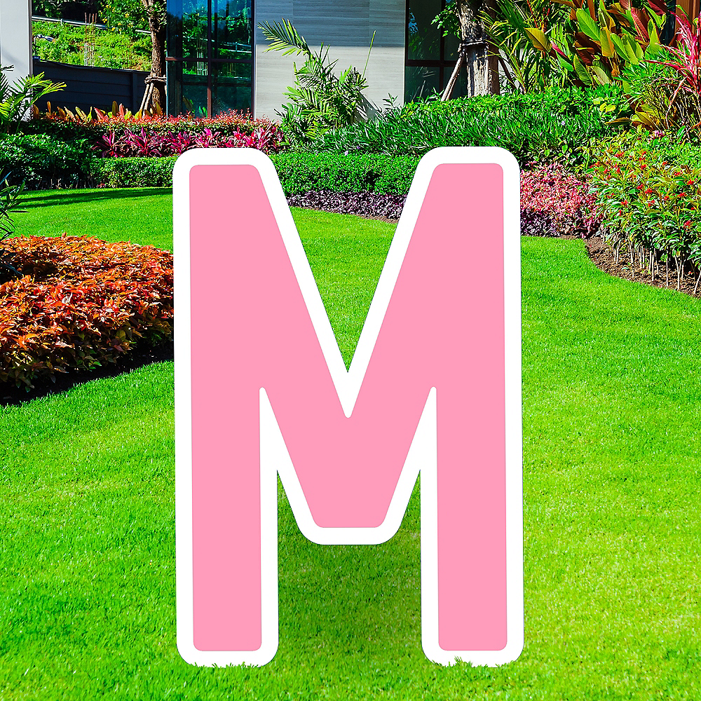 Giant Pink Corrugated Plastic Letter (M) Yard Sign, 30in Image #1