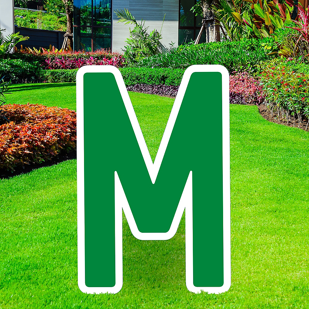 Giant Festive Green Corrugated Plastic Letter (M) Yard Sign, 30in Image #1