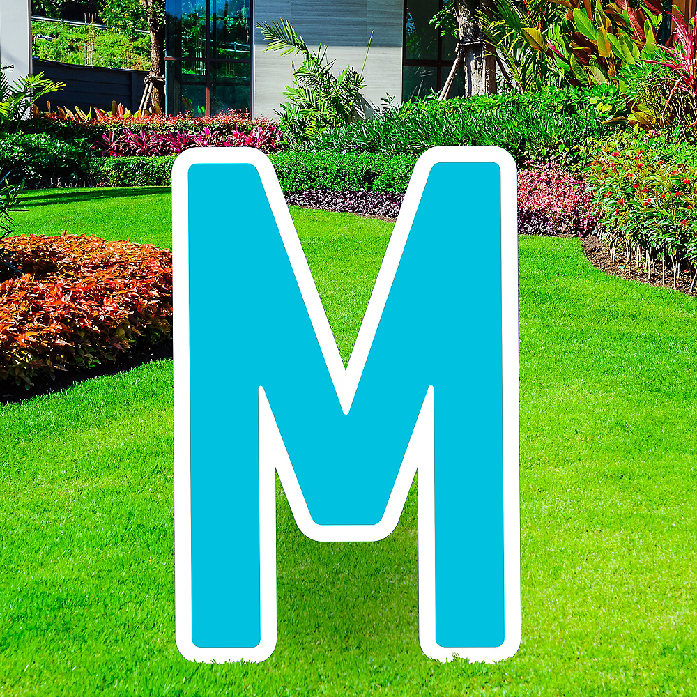 Giant Caribbean Blue Corrugated Plastic Letter (M) Yard Sign, 30in Image #1