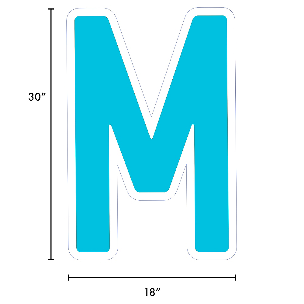 Giant Caribbean Blue Corrugated Plastic Letter (M) Yard Sign, 30in Image #2