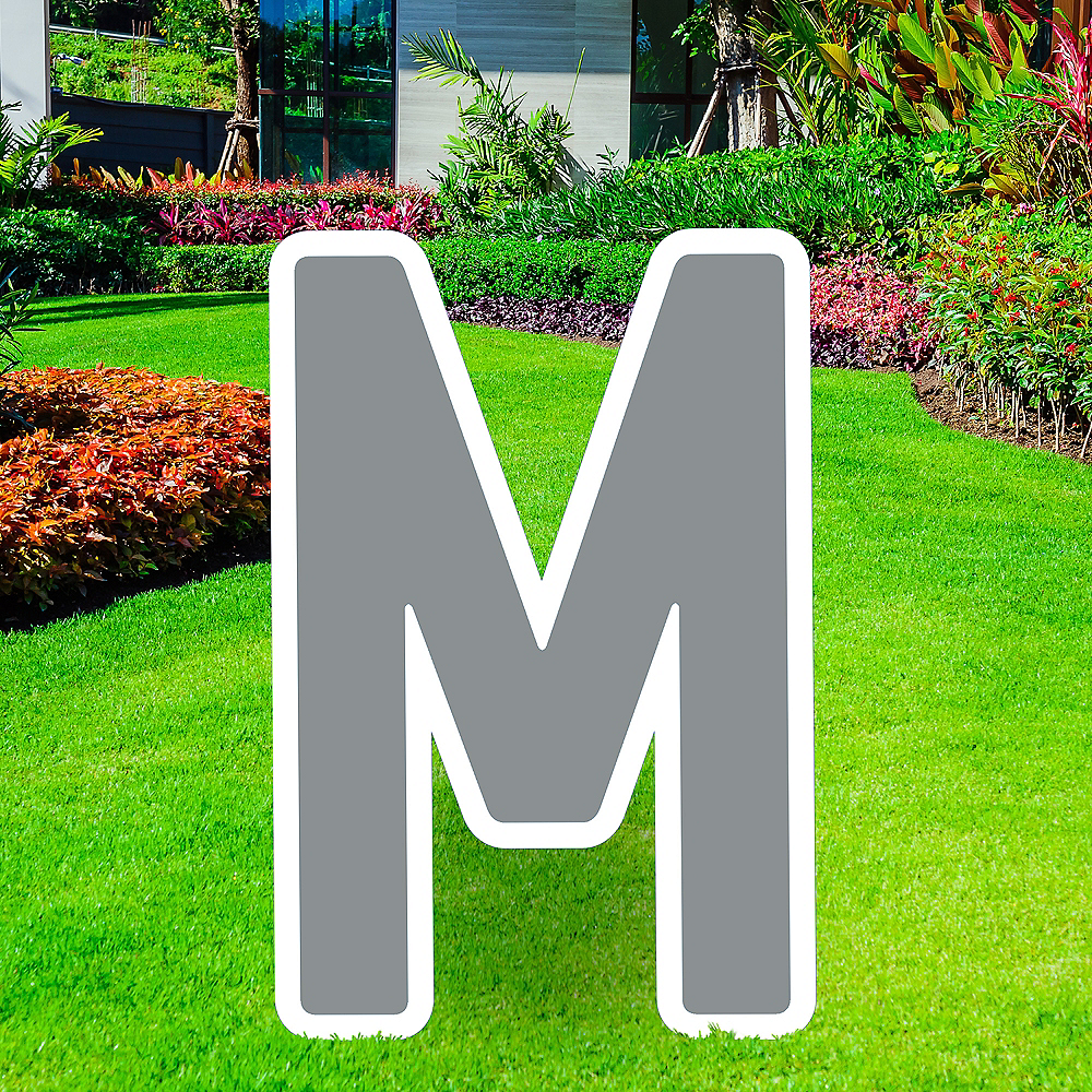 Giant Silver Corrugated Plastic Letter (M) Yard Sign, 30in Image #1