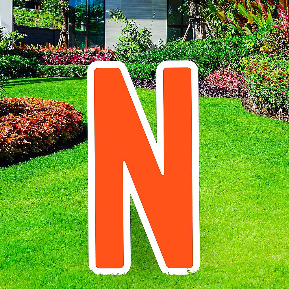 Giant Orange Corrugated Plastic Letter (N) Yard Sign, 30in Image #1