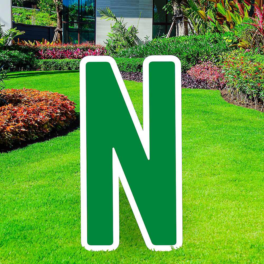 Giant Festive Green Corrugated Plastic Letter (N) Yard Sign, 30in Image #1