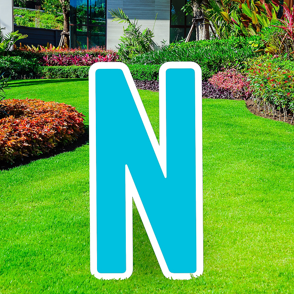 Giant Caribbean Blue Corrugated Plastic Letter (N) Yard Sign, 30in Image #1